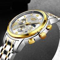 Saatı 2021 Lige Erkek Saatler Üst Su Geçirmez Kuvars Saat Erkekler Için Erkek Paslanmaz Çelik Ay Faz Izle Spor Chronograph