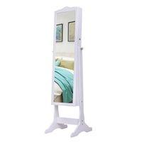 거울, 가구 스탠딩 캐비닛, 목걸이 홀더 후크 반지 귀걸이 메이크업 디스플레이 스토리지 주최자 선물 armoires 흰색 여성을위한 Waco 쥬얼리 상자 armoire