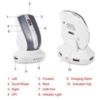 Teclado Mouse Combos Profissional Sem Fio 2.4GHz Recarregável Gaming Meias W / Carregamento Dock Stand Hub USB