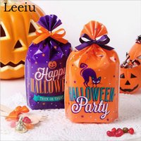 Leeiu 10pcs Trick or Treat Halloween Candy Bag Zucca Bat fantasma Cookies Pacchetto Gift Bag decorazione con il nastro Halloween Party