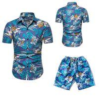 Мужские рубашки + шорты Set New Summer Casual Отпечатано гавайке Homme Короткие Мужской печати платье костюм наборы Размер Euro 6 цветов