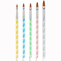 Nail Acrilico Brush Set 5pcs pittura rotonda Sable acrilica dito gel di arte UV fai da te pennello da disegno Penna Nail Art Kit strumenti di fabbrica