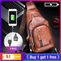 BULLCAPTAIN Leather Mens chest pocket One crossbody bags with USB rechargeable chest bag can be used for 7.9 inch iPai pockets