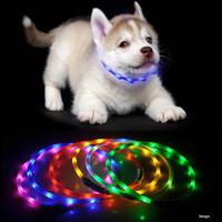 70cm LEDペット犬の襟充電式USB調整可能な点滅猫の子犬の襟の安全性はすべてのペットシリコーン犬の首輪BH2855 DBC