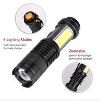 sk68 cob flashlight Mini led CREE XPE torch lights waterproof aluminium alloy zoom lamp multifunction outdoor camping battery flashlights