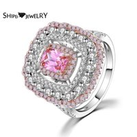 Rings de cluster SHIPEI LUXURY 925 STERLING STERING ROSE PRINCESSE GRATURE MOISSANITE DIAMONS DIAMONS GEMSTONE MARIAGE DE BIJOUX FINE
