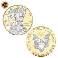 statua della libertà americana moneta commemorativa, oro e argento raccolta placcato oro e argento moneta commemorativa
