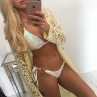 Diseñador atractivo Halter Bikinis Trajes de baño para mujer Mujer cequis de la manera ropa de baño con el cojín del sujetador verano de las mujeres