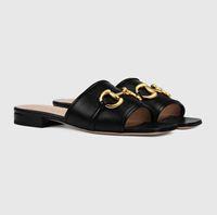 En Lüks Deva Kadın Deri Slaytlar Sandal Horsebit Açık Lady Plaj Sandalet Casual Terlik Bayanlar Konfor Yürüyüş Ayakkabı Altın tonda