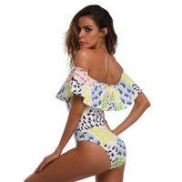 2019 Moda Retro Sexy Designer de Mulheres Camisa Swimsuit Empurre alta Biquíni de uma peça feminina Shoulder desgaste da praia Publicar