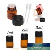 DHL FedEx 1 ml 2 ml 3 ml Mini bursztynowe olejki eteryczne szklane butelki z czarnymi czapkami do olejków eterycznych COGENES plastikowe kropelki