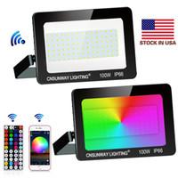 Ultra Thin 100W LED Flutlicht wasserdichte IP66 RGB 44key RF-Fernsteuerung Bluetooth APP führte Projektor-Lichter für Außenleuchten 85-265V