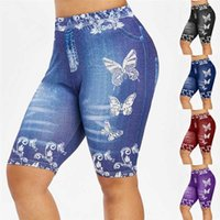 Frauen Plus Size Yoga Shorts dünne Schmetterlings-Druck-beiläufige Jeggings Faux Denim Jean Short Fitness Leggings Laufen Training Short