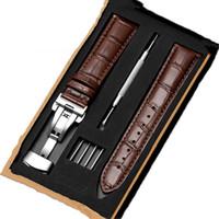 Cuoio del cinturino doppio stampa farfalla fibbia 12 millimetri-24 millimetri in pelle braccialetto di vigilanza cinghia con installare strumento in scatola di legno