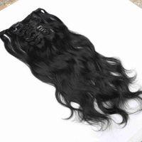Объемная волна клип Ins выдвижение волосы 7 шт / Set Natural Color клип Ins Человек Remy волоса в человеческих волосах Extension копне