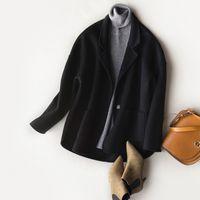 MLCRIYG 2020 Корейский моды 100% шерсти пальто Женщины Короткие Двусторонний шерсть пальто осень зима куртка женщин Casaco Feminino YQ317