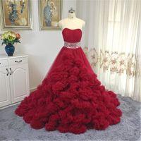 Новая роскошная принцесса Облако Свадебное платье Гофрированные Тюль Красный бальное платье Бисероплетение Sash свадебное платье 2020 vestidos де Noiva Mariage