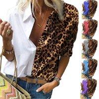 Moda Mulheres Manga Longa Leopardo Blusa Camisas Verão V Pescoço Camisa Lady Ol Parte Tops Elegant Plus Size Streetwear Blusas