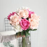 5PCS Big Rose Real Touch Latex fleur artificielle pour la maison de soirée de mariage Décoration de table Florale Fleurs Faux