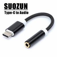 Suzun USB Tipo C a 3.5 Adaptador de fone de ouvido AUX cabo de áudio USB C a 3.5mm conversor de fone de ouvido para letv 2 xiaomi huawei p20 adaptador USBC