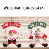 زينة عيد الميلاد مرحبا الأرقام سانتا ثلج توقف الشرفة الكرتون الباب عيد الميلاد اكليلا من الزهور شنق Fextive ديكور المنزل هبوط السفينة