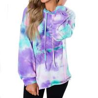 Женщины Толстовки Дизайнер футболки Осень с капюшоном свитер с длинным рукавом Одежда Gradient Блуза WALF Чеки Tie окрашенная Толстовки Топы НОВЫЙ D81102
