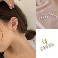 Dell'orecchio di modo minimalista perla polsino di Perle Croce clip orecchini di perle finte Piercing dell'orecchio del polsino donne clip di orecchio dei monili