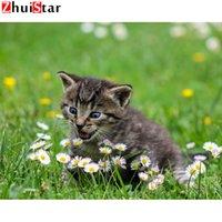 5D DIY diamante animais pintura ponto cruz quadrado mosaico de diamantes bordados bonito agulha gato strass fio pintura XY1