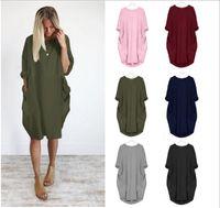 Yaz Kadın Casual Çok renkli elbiseler Moda Mürettebat Boyun Kasetli Bayan Modelleri Casual Uzun Kollu Gevşek Kadınlar Giyim Artı boyutu