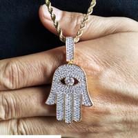 Neue Art und Weise 18K Gold überzogenes Kupfer-gefror heraus Fatima Hand Halskette Kette CZ Zirkonia Vintage-Talisman Schmuck Geschenke für Männer und Frauen