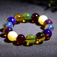 Natural Beeswax Amber Duobao Bracelet Blue Pearl Jin Po Bloo...
