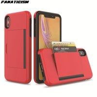 ID carte de crédit Porte-monnaie Emplacement pour l'iphone X Xs Max iphone XR cas antichocs PC + TPU hybride Support Flip Phone Cover