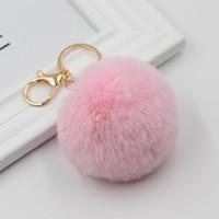 2020 Boule réel fourrure de lapin porte-clés balle molle poilue Belle Porte-clés en métal Ballon d'Or Pom Poms peluche porte-clés de voiture Sac Keyring Boucles d'oreilles Accesso