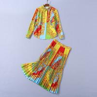 Европейская и американская женская одежда 2020 зима новый стиль с длинным рукавом рубашка плиссированная юбка мода дворец ретро печатный костюм