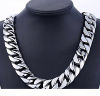 Super Heavy Thick 24mm Mens Silver Cuban Link Flat Round Nec...