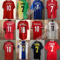 92 98 Cantona Giggs Keane Mens Retro Soccer Jerseys 98 04 Beckham Solskjaer Scholes 11 Ronaldo Ferdinand Rooney Chicharito Camicia calcio