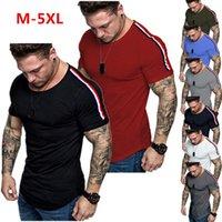새로운 여름 캐주얼 티셔츠 남성 솔리드 패치 워크 슬림 피트니스 스포츠 짧은 소매 O-NECK 오버 사이즈 남성 티셔츠 스트리트 남성 옷