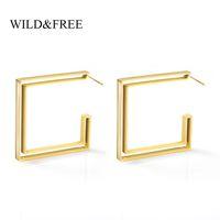 Forma WildFree ouro geométrico Hoop brincos para Mulheres oco Coração Estrela Triângulo praça aberta Brincos festa de jóias Moda