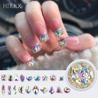 HNUIX 30pcs cristalli Crystal AB Teardrop Nails Forma Stones goccia posteriore piana Rhinestones per vetro 3D unghie e design di arte della decorazione