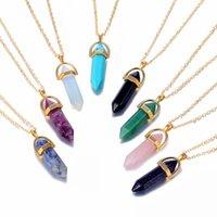 Moda Opala Hexagonal Coluna Declaração Quartz colares Colar Rosa Natural pingente de cristal jóias boêmio por Mulheres