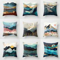 45x45cm Geometric Mountain Sun Whale Creative Polyester Cushion Cover Office Soggiorno Decorazione Domestica Caso di natale cuscino