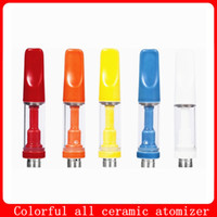 Full Ceramic vape cartridges tank Colorful Ceramic Coil Atomizer 0.5ml 1.0ml catridges Thick oil vape Hookah for 510 thread Battery
