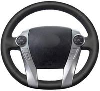 Handgenähten schwarze Lederautolenkradabdeckung für Toyota Prius 30 XW30 2009-2015 Prius C 2012-2017