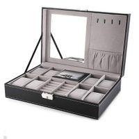 Caixa de relógio de couro 8 mens relógio organizador de jóias exposição de gaveta de relógio de relógio de relógio de faixa 8 slots Bandeja de anéis com fechadura MX200810