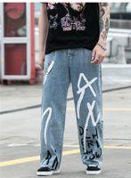 الساق جينز فضفاض الصلبة رسالة مطبوعة ذكر بنطلون مصمم رجالي العبث استرخاء الجينز الهيب هوب خمر بنين على نطاق واسع