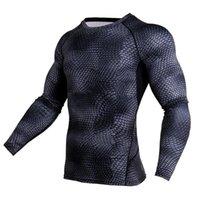 Nouveau 3D T-shirts imprimés Hommes T-shirt de compression thermique Chemise à manches longues Mens Fitness culturisme moulants rapide Tops secs