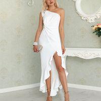 Sexy, Frühling, Sommer, figurbetontes Kleid Frauen 2020 Mode Rüschen Slit Hem Kleider elegantes Schulter lange Partei-Kleid-Weiß-Vestido