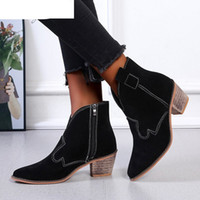 2020 New Winter Women' s Boots Fashion Square Heel Zippe...