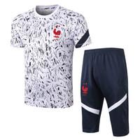 Top 20 21 21 Frances Manica corta polo + Pantaloni Soccer Tracksuit Pogba Track Suits 2010 2021 Griezmann Chandal Mbappe Man Suits