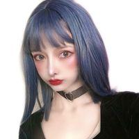 Haze parrucca blu di vendita diretta femminile Capelli di lunghezza media clavicola temperamento capelli di riparazione del fronte di lunghezza media delle fibre chimiche copricapo di fabbrica